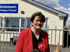 Arlene Foster speaks to the media during a visit to Kirkistown Primary School in Co Down (David Young/PA)