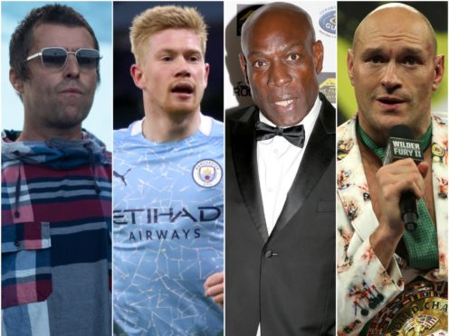 Liam Gallagher, Kevin De Bruyne, Frank Bruno and Tyson Fury (Aaron Chown/Nick Potts/Hollie Adams/Bradley Collyer/PA)