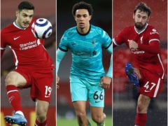 Trent Alexander-Arnold, centre, is joined by Ozan Kabak, left, and Nat Phillips as Liverpool lock out this week's defensive recommendations (Phil Noble/Adam Davy/PA)