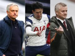Jose Mourinho, left, was fuming with Ole Gunnar Solskjaer's comments about Son Heung-min, centre (Clive Rose/Matthew Childs/PA)