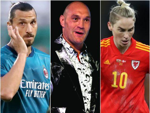 Zlatan Ibrahimovic, Tyson Fury and Jess Fishlock (Niall Carson/Kirsty O'Connor and David Davies/PA)