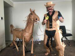 David Marriott with his paper horse Russell (David Marriott/AP)