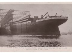 A photocopy provided by RR Auction of a postcard dated May 31 1911 shows the Titanic, in Belfast, Northern Ireland (RR Auction via AP)