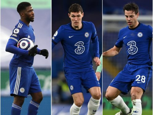 Kelechi Iheanacho, left, enters gameweek 30 in prime form along with Chelsea defenders Andreas Christensen, centre, and Cesar Azpilicueta (Molly Darlington/Glyn Kirk/PA)