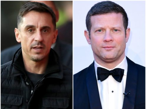 Gary Neville and Dermot O'Leary (PA)