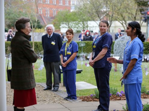 The Princess Royal visiting Cheltenham General Hospital on Wednesday (Gloucestershire Hospitals NHS Foundation Trust/PA)