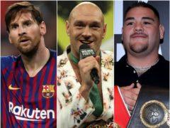 Lionel Messi, Tyson Fury and Andy Ruiz (Nick Potts/Bradley Collyer/PA)