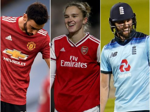 Vivianne Miedema, centre, celebrated with the rest of the WSL while Bruno Fernandes, left, and Chris Woakes showed their joy in different ways (Peter Powell/Bradley Collyer/Jon Super/PA)