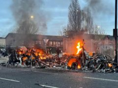 Scenes of disorder in Belfast on Wednesday night (Liam McBurney/PA)