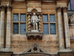 The controversial statue of colonialist Cecil Rhodes at Oriel College, University of Oxford, as the governing body of the college is meeting to discussing its future. Large demonstrations have been held outside the college as part of the Black Lives Matter protests and a long-running campaign to demand the removal of the statue.