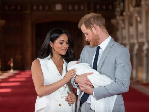 The Duke and Duchess of Sussex with Archie soon after he was born (Dominic Lipinski/PA)