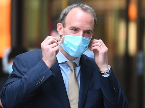 Dominic Raab has urged caution in the 'last lap' of the fight against coronavirus (PA)