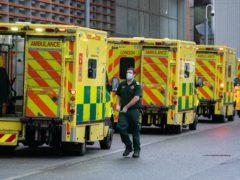 Ambulances outside the Royal London Hospital on January 20 (Dominic Lipinski/PA)
