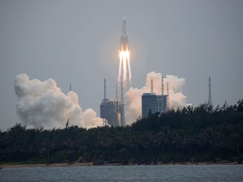 A Long March 5B rocket carrying a module for a Chinese space station lifts off from the Wenchang Spacecraft Launch Site in Wenchang in southern China's Hainan Province, Thursday, April 29, 2021. China has launched the core module on Thursday for its first permanent space station that will host astronauts long-term. (Chinatopix via AP)