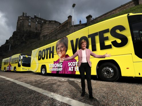 Scottish First Minister and SNP leader Nicola Sturgeon campaigns in Edinburgh (Russell Cheyne/PA)