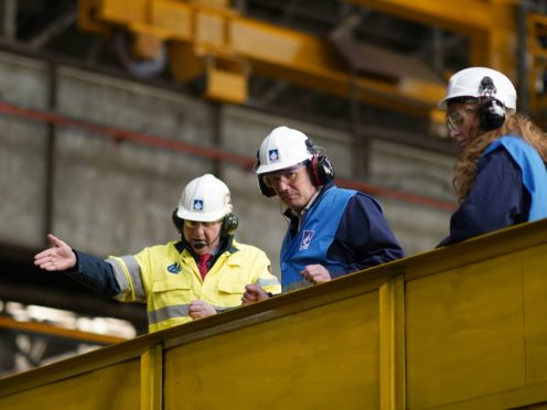 Labour leader Keir Starmer during a visit to Liberty Steel in Hartlepool (PA)