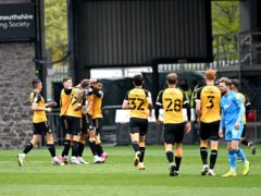 Newport celebrate Joss Labadie's goal (Simon Galloway/PA)