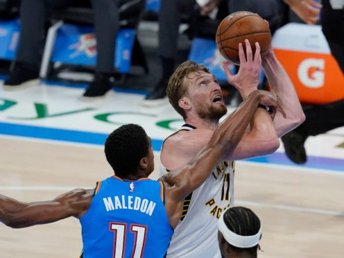 Indiana Pacers forward Domantas Sabonis is fouled by Oklahoma City Thunder guard Theo Maledon in their one-sided NBA match on Saturday night (Sue Ogrocki/AP)