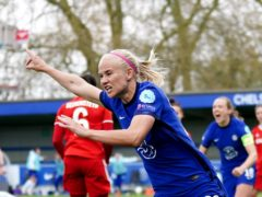 Pernille Harder celebrates Chelsea's crucial third goal (John Walton/PA)