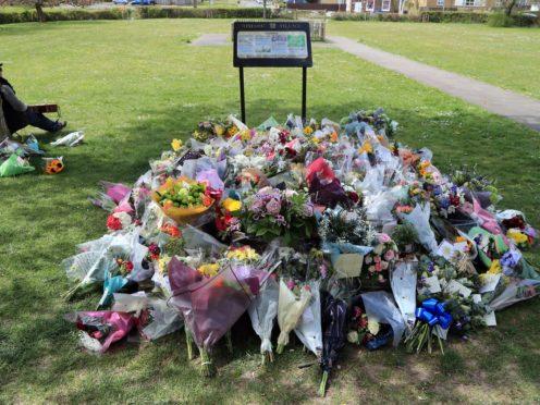 Flowers left in memory of PCSO Julia James in Aylesham, Kent (Gareth Fuller/PA)