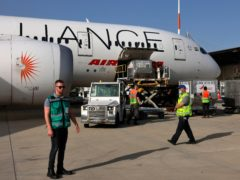 Medicines are loaded onto an Air India plane as it prepares to leave Tel Aviv (AP)