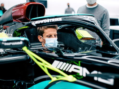 Romain Grosjean is to have his final F1 drive in Lewis Hamilton's title-winning car (Mercedes/PA)