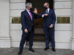 Brandon Lewis with Simon Coveney in Dublin (Brian Lawless/PA)