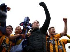 Cambridge manager Mark Bonner celebrates promotion (Tim Goode/PA)