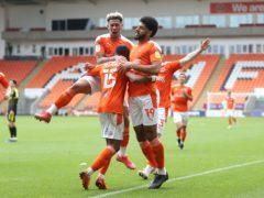 Blackpool's Ellis Simms (right) celebrates (Martin Rickett/PA)