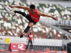Japanese para-athlete Junta Kosuda competes in the men's long jump during a Tokyo 2020 test event earlier this month (Shuji Kajiyama/AP)