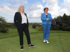 Arlene Foster and Michelle O'Neill on the golf course (Niall Carson/PA)