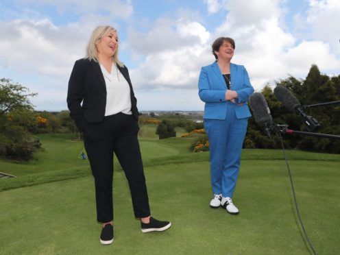 Northern Ireland First Minister Arlene Foster (right) and Deputy First Minister Michelle O'Neill at the launch of the PGA Europro Tour event at Clandeboye Golf Club near Bangor in Co Down (Niall Carson/PA)