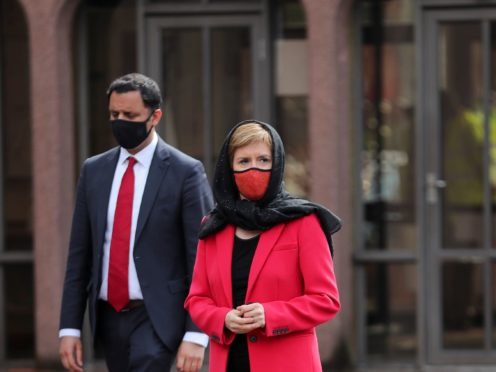 Mr Sarwar and Ms Sturgeon visited Glasgow Central Mosque (Russell Cheyne/PA)