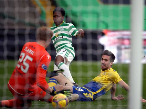 Karamoko Dembele scores his first goal for Celtic (Andrew Milligan/PA)