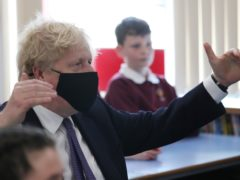 Prime Minister Boris Johnson during a visit to Cleves Cross Primary school in Ferryhill (Scott Heppell/PA)