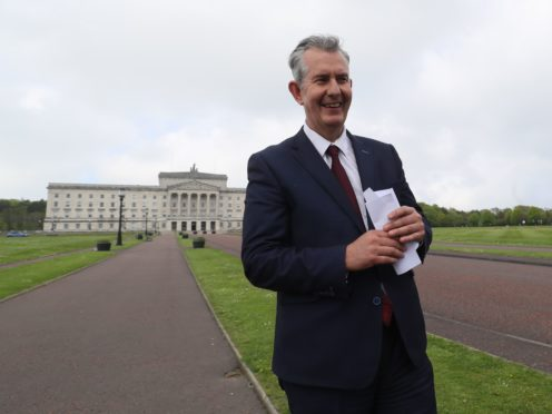 Democratic Unionist Party new elected leader Edwin Poots leaving Stormont, Belfast after making a statement. (Brian Lawless/PA)