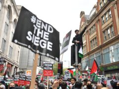 Demonstrators marched to the Israeli embassy in London (Dominic Lipinski/PA)