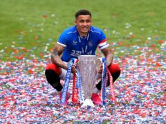 James Tavernier celebrates with the trophy (Andrew Milligan/PA)