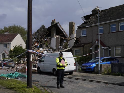 Emergency workers at the scene of a suspected gas explosion in Heysham (Danny Lawson/PA)
