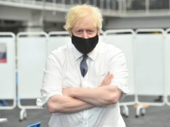 Prime Minister Boris Johnson visiting a Vaccination Centre at the Business Design Centre in Islington (Jeremy Selwyn/Evening Standard/PA)