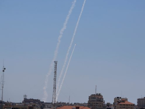 Rockets are launched from the Gaza Strip to Israel (AP/Hatem Moussa)