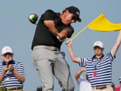 Phil Mickelson held the clubhouse lead in the US PGA Championship (David J. Phillip/AP)