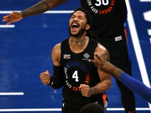 The New York Knicks notched their first playoff win in eight years and levelled their series with the Atlanta Hawks 1-1 courtesy of a powerful second-half performance from three-time All-Star Derrick Rose (Elsa/Pool/AP)