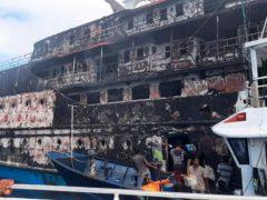 Rescuers inspect the wreckage of KM Karya Indah ferry (BASARNAS/AP)