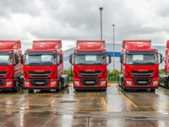 The new Bio-CNG-fuelled Royal Mail trucks at the depot in Warrington, Cheshire (Royal Mail/PA)
