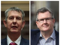 Edwin Poots and Sir Jeffrey Donaldson are making their final pitches to replace Arlene Foster as DUP leader (PA)