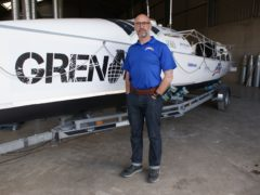 Ian Rivers and his boat, Sentinel (Row Sentinel)