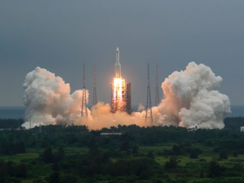 China says the central rocket segment that launched the 22.5-ton core of China's newest space station into orbit burned up as it re-entered Earth's atmosphere early on Sunday (Ju Zhenhua/Xinhua News Agency via AP, File)