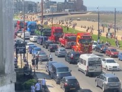 A convoy in memory of George Arthur Hinds makes its way through Morecambe (Maemi Sokanon Wyanet-Smith)