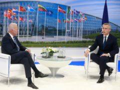 Nato secretary general Jens Stoltenberg and US President Joe Biden (Stephanie Lecocq, Pool via AP)